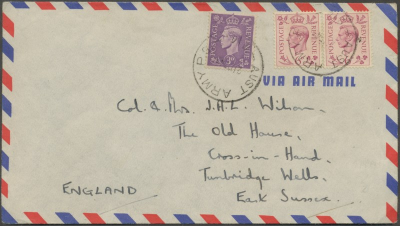 1949 commercial cover with aust army po aapo no 214 cancel
