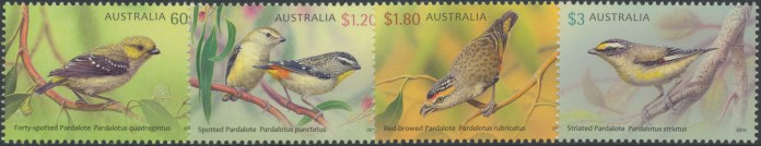 2013: Australian Birds - Pardalotes Set of 4