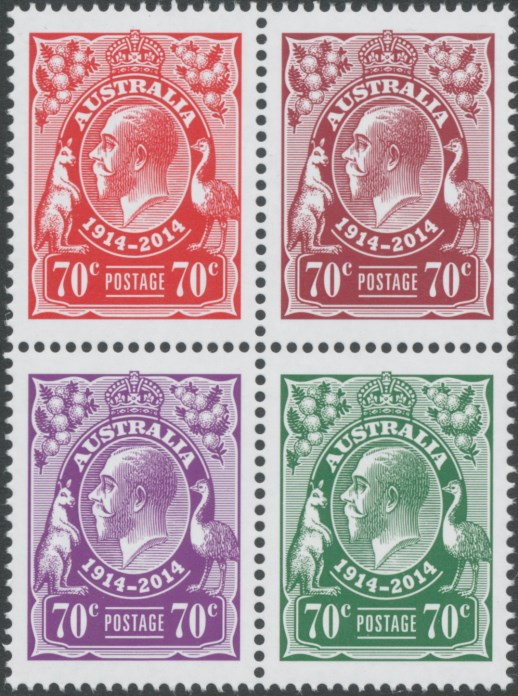 2014: 100th Anniversary King George V Stamps Block of 4 in rosine, claret, violet and green