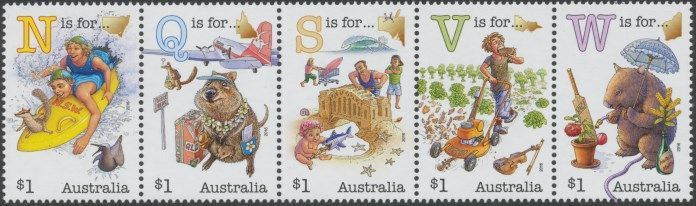 2016: Fair Dinkum Aussie Alphabet (Part 1) Strip of 5