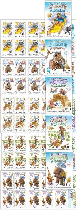 2016: Fair Dinkum Aussie Alphabet (Part 1) self-adhesive booklet pane