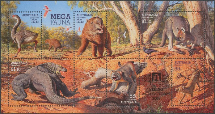 2008: SG MS3091 Mega Fauna miniature sheet overprinted for Beijing