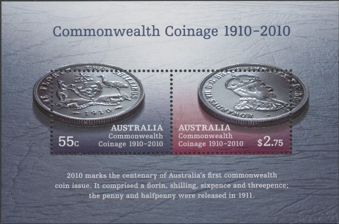 2010: SG MS3352 Australian Commonwealth Coinage 1910-2010 miniature sheet