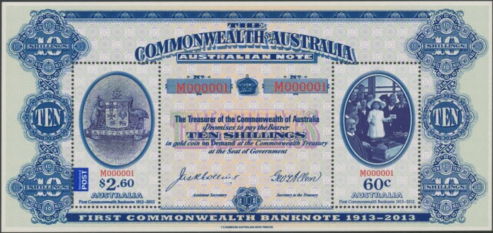 2013: Centenary of the First Australian Commonwealth Banknote Miniature Sheet