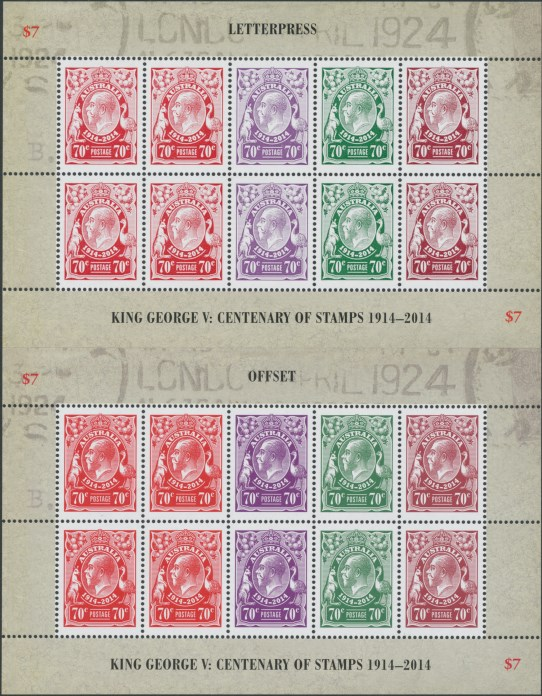 2014: 100th Anniversary King George V Stamps 2 sheetlets - letterpress and offset