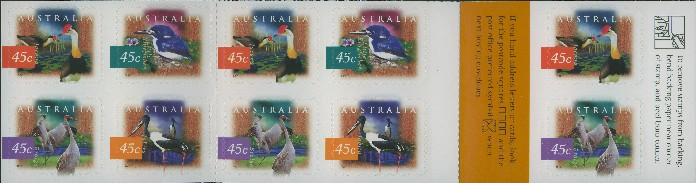 1997: SG SB116 $4.50 Fauna and Flora (2nd series): Wetland Birds Booklet containing SG1687a