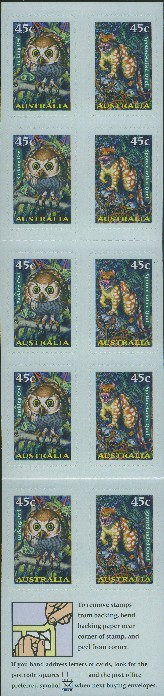 1997: SG SB117 $4.50 Nocturnal Animals Booklet containing SG1720b