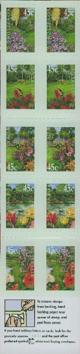 2000: SG SB135 $4.50 Gardens Booklet containing SG1965b