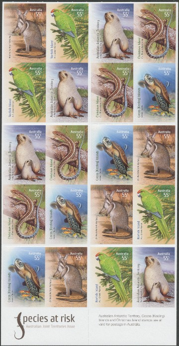 2009: SG3253a Species at Risk - Joint Territories Issue booklet pane