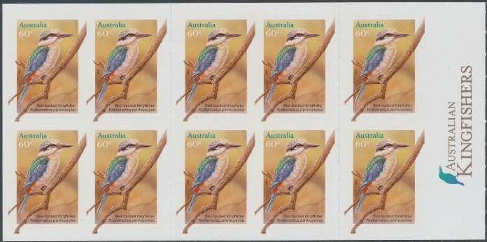 2010: SG3509a 60c Red Backed Kingfisher self-adhesive booklet pane