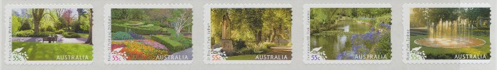 2009: SG3229a Australian Parks & Gardens self-adhesive strip of 5 from roll