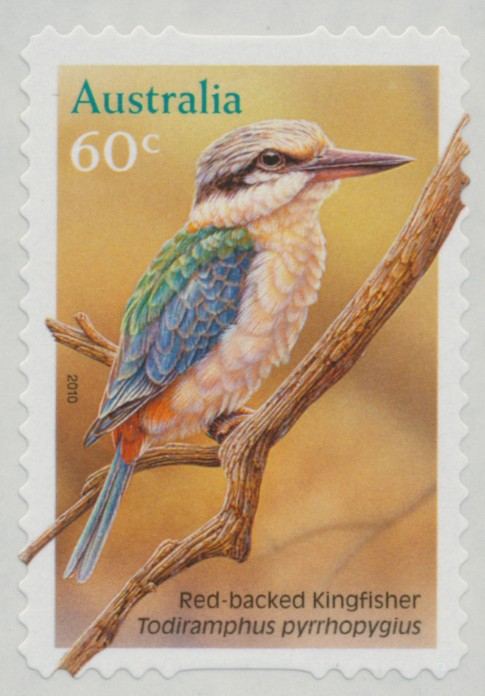 2010: SG3509 60c Red Backed Kingfisher self-adhesive from roll