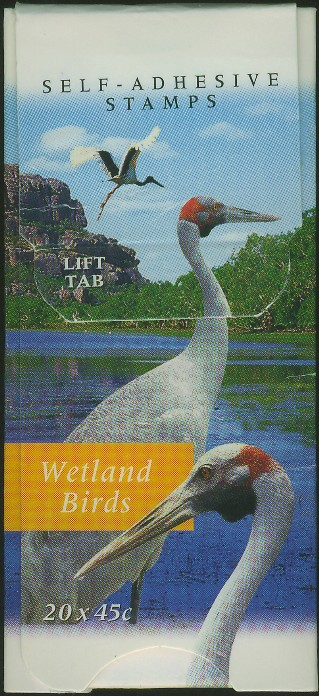 1998: SG SB121 $9 Fauna and Flora (2nd series): Wetland Birds Booklet containing SG1687-90d