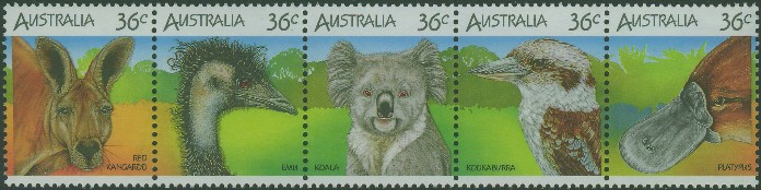 1986: SG1023a Wildlife strip of 5