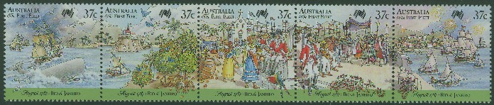 1987: SG1077a Bicentenary of Australian Settlement, First Fleet at Rio de Janeiro strip