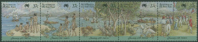 1988: SG1105a Bicentenary of Australian Settlement, Arrival of First Fleet strip of 5