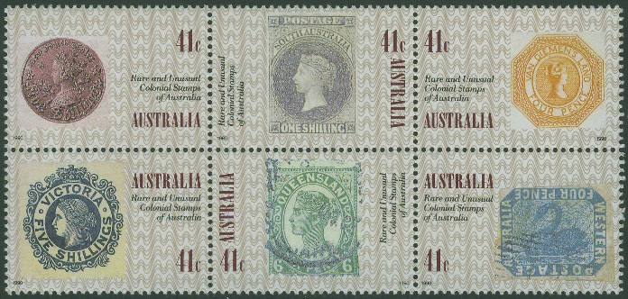 1990: SG1247a 50th Anniversary of the Penny Black block of 6