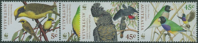1998: SG1794-7 Endangered Species, Birds set of 4 in pairs