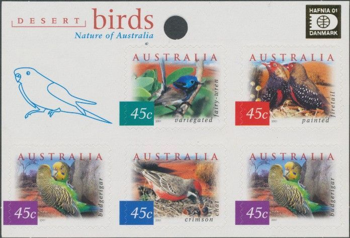 2001: SG2130a Fauna and Flora (4th series): Desert Birds sheetlet with Hafnia '01 overprint