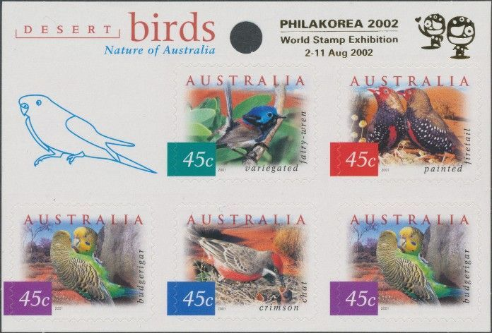 2001: SG2130a Fauna and Flora (4th series): Desert Birds sheetlet with Philakorea 2002 overprint