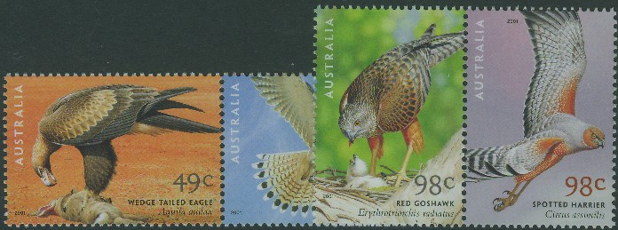 2001: SG2140-3 Centenary of Birds of Australia: Birds of Prey set of 4