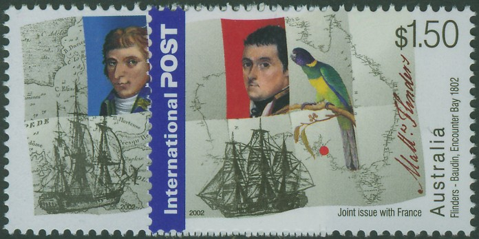2002: SG2193-4 AustraliaFrance Joint Issue: Bicentenary of FlindersBaudin Meeting set of 2