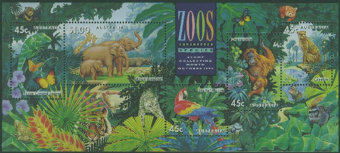 1994: SGMS1484 Australian Zoos, Endangered Species miniature sheet