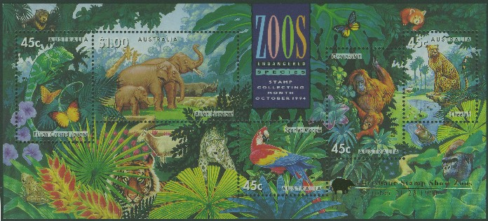 1994: SGMS1484 Australian Zoos, Endangered Species miniature sheet with Brisbane overprint