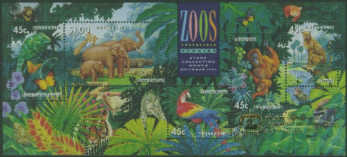 1994: SGMS1484 Australian Zoos, Endangered Species miniature sheet with Fremantle overprint