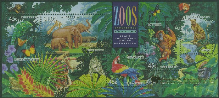 1994: SGMS1484 Australian Zoos, Endangered Species miniature sheet with Melbourne overprint