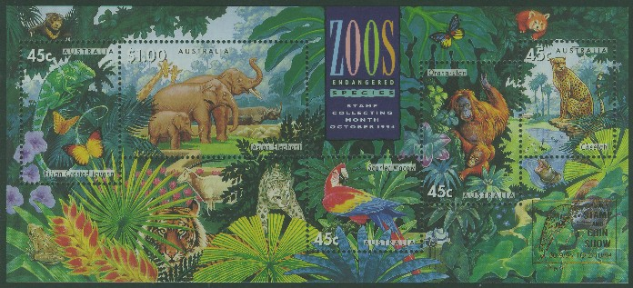 1994: SGMS1484 Australian Zoos, Endangered Species miniature sheet with Sydney overprint