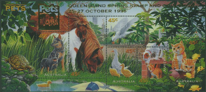1996: SGMS1651 Australian Pets with Queensland overprint