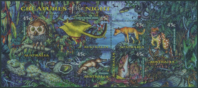 1997: SGMS1719 Nocturnal Animals miniature sheet