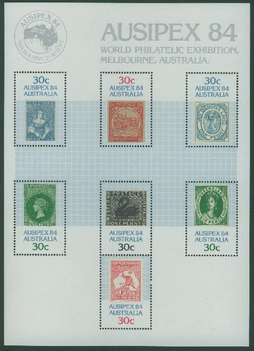 1984: SGMS945 30c 1d Kangaroo and Map miniature sheet