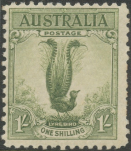 SG140a 1931 1/- Lyre, yellow-green
