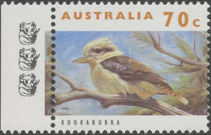 1996: Reprint SG1366a 70c Kookaburra text in Orange-Bown - 3 Koalas