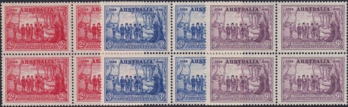 AUS SG193-5 New South Wales set of 3 block of 4