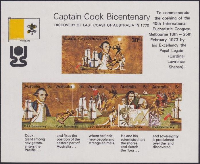 AUS SG MS465 Captain Cook Bicentenary miniature sheet Vatican overprint