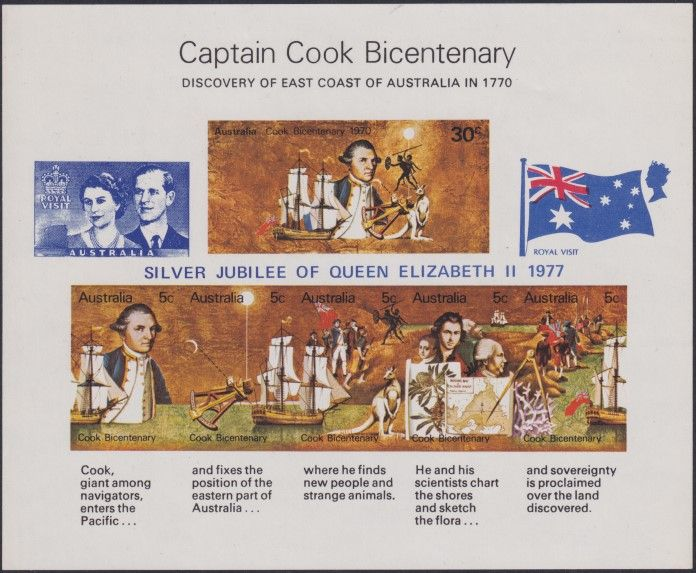 AUS SG MS465 Captain Cook Bicentenary miniature sheet Silver Jubilee overprint