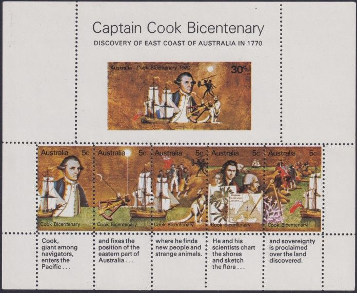 AUS SG MS465 Captain Cook Bicentenary miniature sheet unofficial perforations