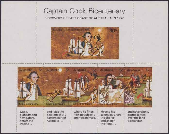 AUS SG MS465 Captain Cook Bicentenary miniature sheet unofficial roulette
