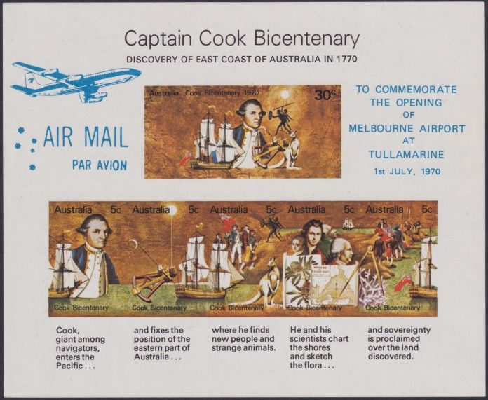 AUS SG MS465 Captain Cook Bicentenary miniature sheet Melbourne Airport - light blue overprint