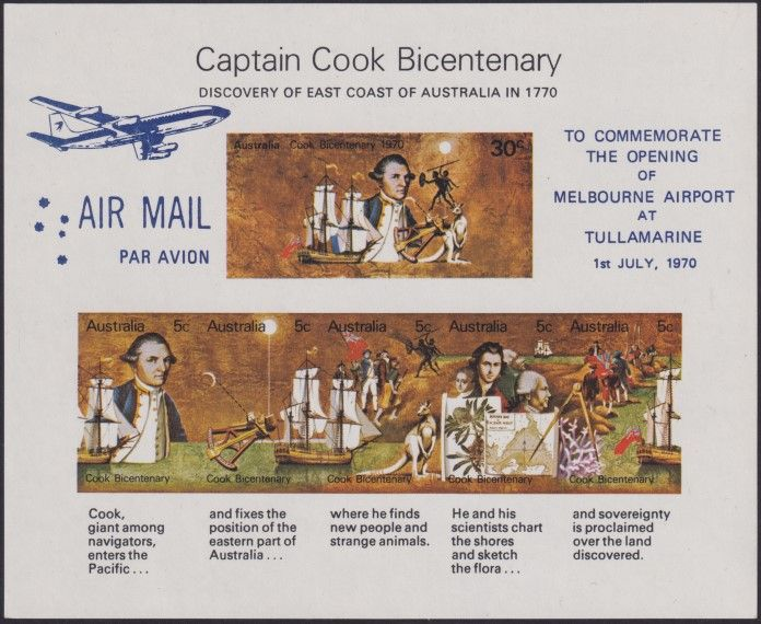 AUS SG MS465 Captain Cook Bicentenary miniature sheet Melbourne Airport - dark blue overprint