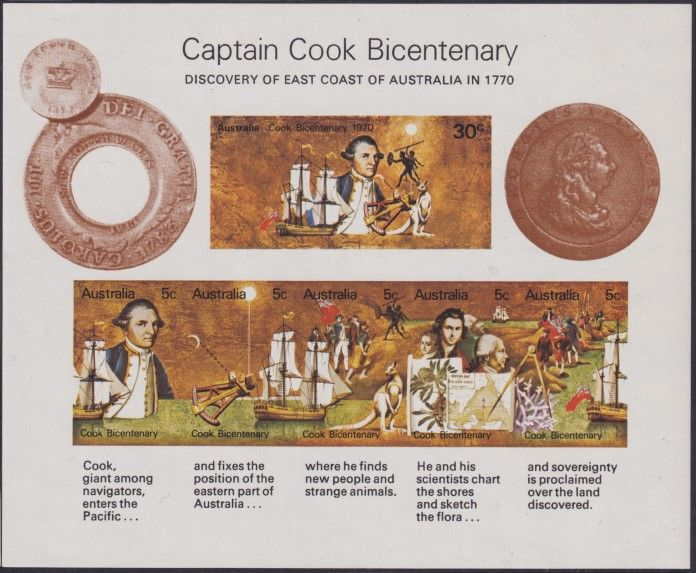 AUS SG MS465 Captain Cook Bicentenary miniature sheet Coin overprint