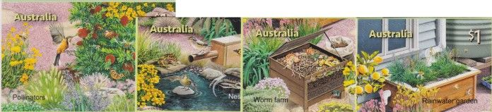 AUS 01/08/2019 Stamp Collecting Month 2019: In the Garden self-ad set of 4 from booklets (exSB666-7)