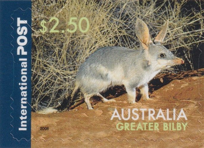 AUS 30/09/2019 $2.50 Greater Bilby self-adhesive from sheetlet