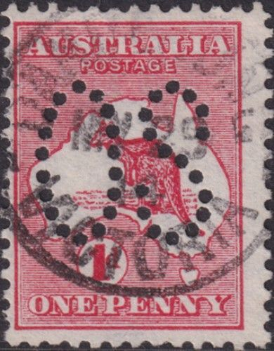 Australian Official Stamp SG O2 1d Red Die I Kangaroo (AOG/471)