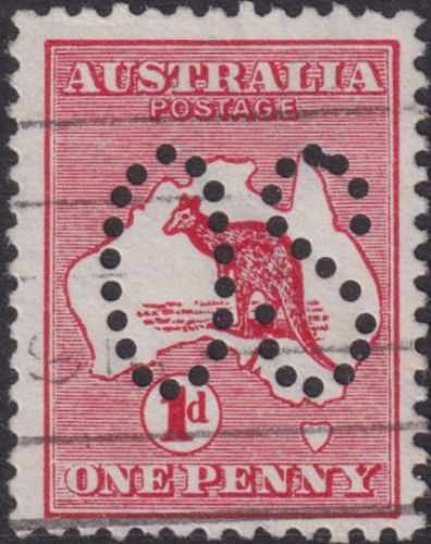 Australian Official Stamp SG O2 1d Red Die I Kangaroo (AOG/472)