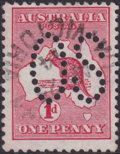 Australian Official Stamp SG O2 1d Red Die I Kangaroo (AOG/473)