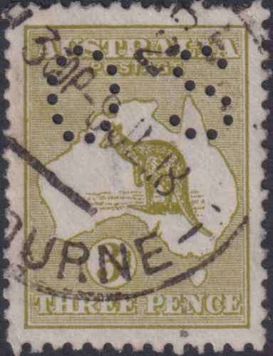 Australian Official Stamp SG O45 3d Yellow-olive Die I Kangaroo (AOG/529)